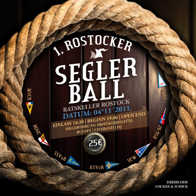 1. Rostocker Segler-Ball im Ratskeller Rostock - Einlass: 18:30 Uhr Begin: 19:00 Uhr, Open End. Siegerehrung Freitagsregatta, Buffet, Liveband, DJ. Einlass: 25,- €. Dresscode locker & schick.